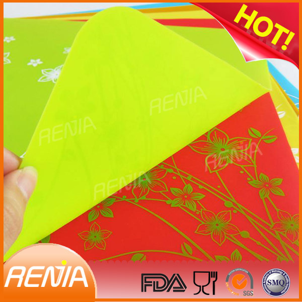RENJIA heat protection silicone placemat eco-friendly silicone coaster colorful silicone mats