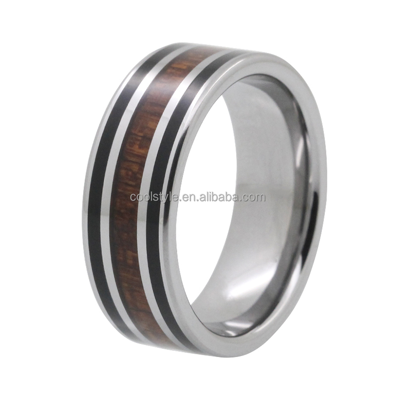 Red wood and black resin inlay tungsten Anniversary Rings gifts