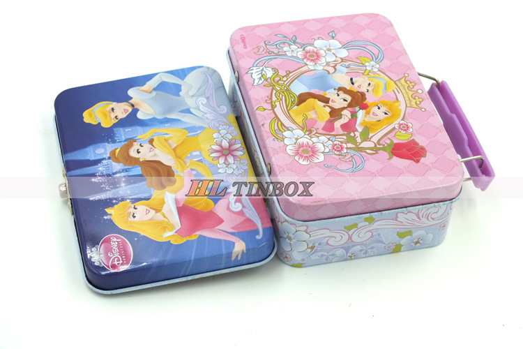 Rectangular Kids Gift Tin Lunch Box with Handle and Lock