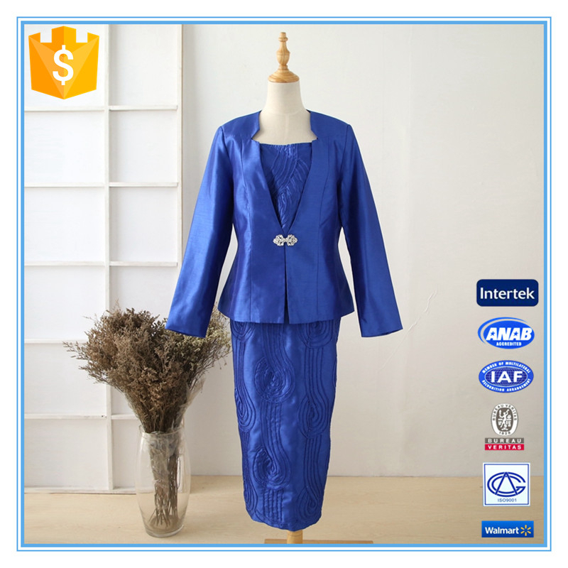 100% Polyester Three-piece Suit Dark Blue Wholesale Women Church Suits