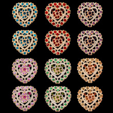 Fashion Crystal Rhinestone Heart-shape Brooches For Women
