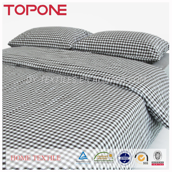 100% Cotton Lattice Grid Check Design Soft Wholesale Bed Sheet Set