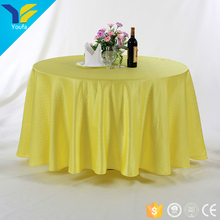 "Banquet wedding table linen decoration yellow 132"" round jacquard polyester table cloth"