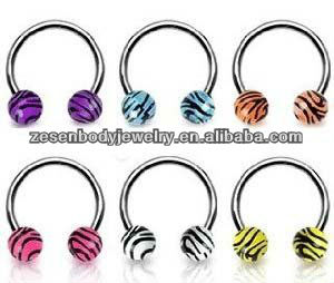 316L Surgical Steel CBR Jewelry Piercing Striped Balls