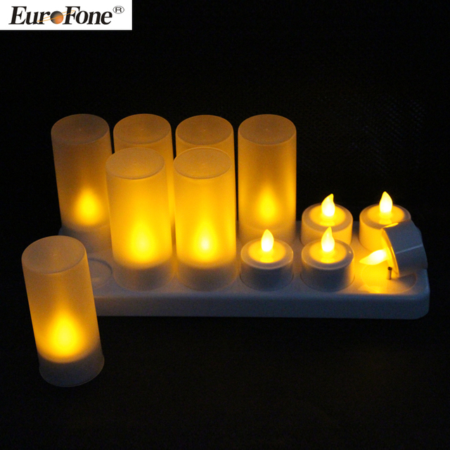 2017 Rechargeble led tealight candle set of 12 with remote control function