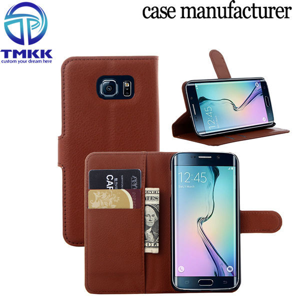 S6E001 Card Slots Cheapst PU Leather Flip Case for Samsung Galaxy S6 Edge