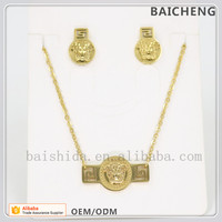 Men and women gold chain jewelry Watch shape necklace and earrings Medusa sign jewelry set