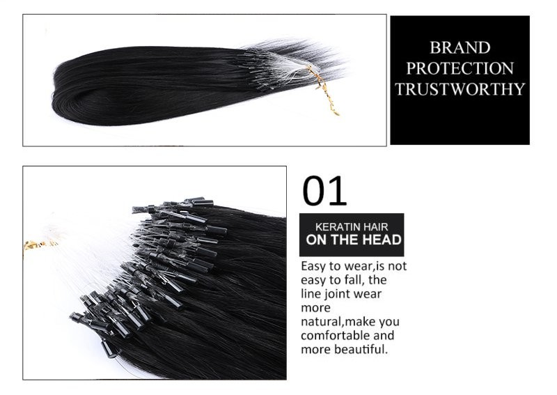 "7A Indian Unprocessed 8""-30""0.5g/stand micro loop ring hair extension virgin ideal tangle free crochet braids with human hair"