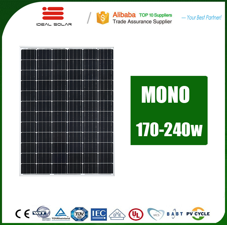 the lowest price solar panel 1m square anodized aluminum alloy frame 200 watt 200wp 200w 230w 240w 12v mono poly pv module