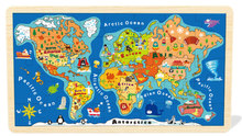 wooden puzzle map of usa and ocean