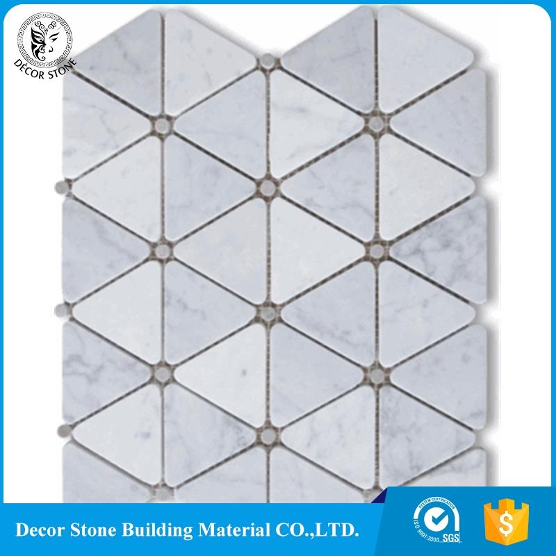 Carrara Marble Triangle Mosaic Polished Gray Dots Floor Wall Tile