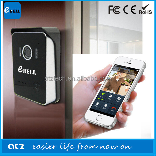 ATZ E-Bell Wireless Video Door Phone WiFi Doorbell Intercom Digital Camera Unlock Door with Smart Phone