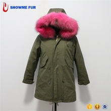 Hot Style Long Vivid Red Color Raccoon Fur Hood Parka Coats Womens