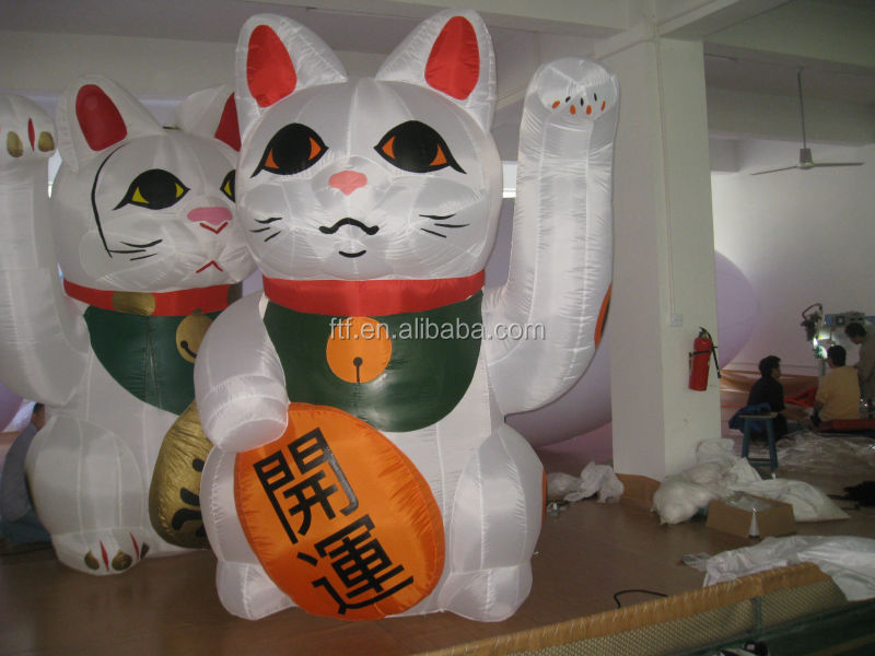 hot sale advertising custom promotion white giant inflatale cat/cheap inflatable luck cat for sale