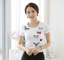 New design fashion korean style cotton tops short sleeve t-shirt ladies butterfly print clothes women custom summer blouse