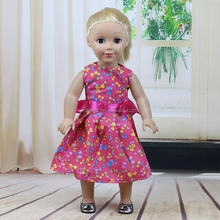American High Quailty Bow Pattern Dress Clothes for 18 inch Dolls Baby Doll Accessories