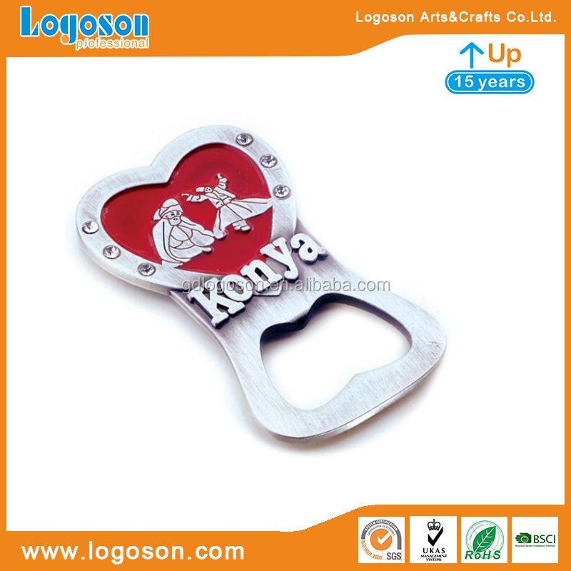 Creative Turkey Konya Souvenirs Gifts Metal Fridge Magnet Anti Copper Rhinestone Heart Shape Vintage Bottle Opener