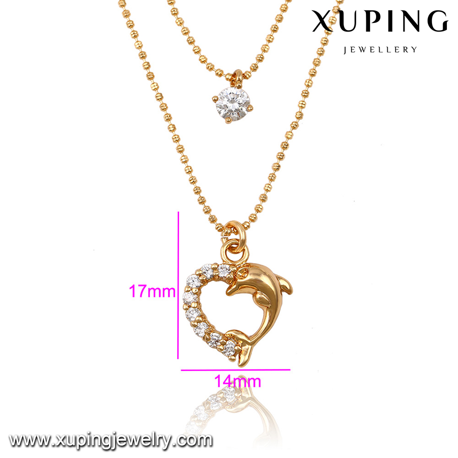 43053 rose gold heart shape dolphin lady chain Necklace for women