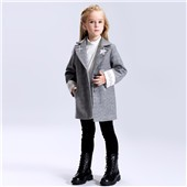 Children dress coat girls woolen stand collar girls trench coats winter kids