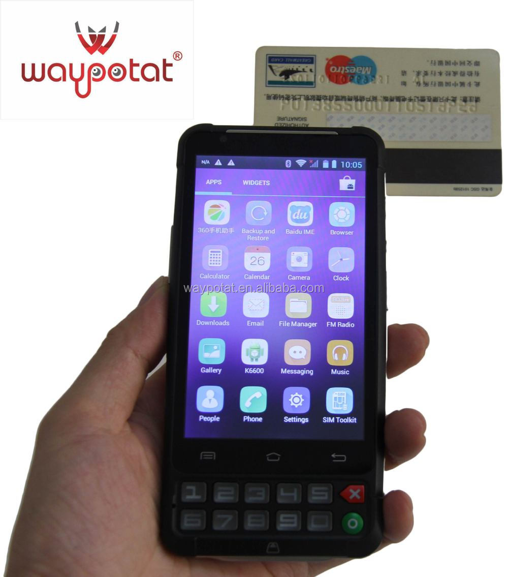 waypotat Android 3G mobile phone with magnetic stripe card reader writer k6600