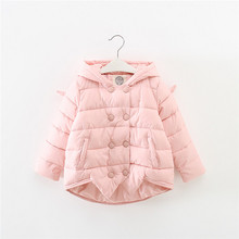 high quality kids girl bright colorful coat long sleeves winter solid coats children double breasted nylon cotton coats