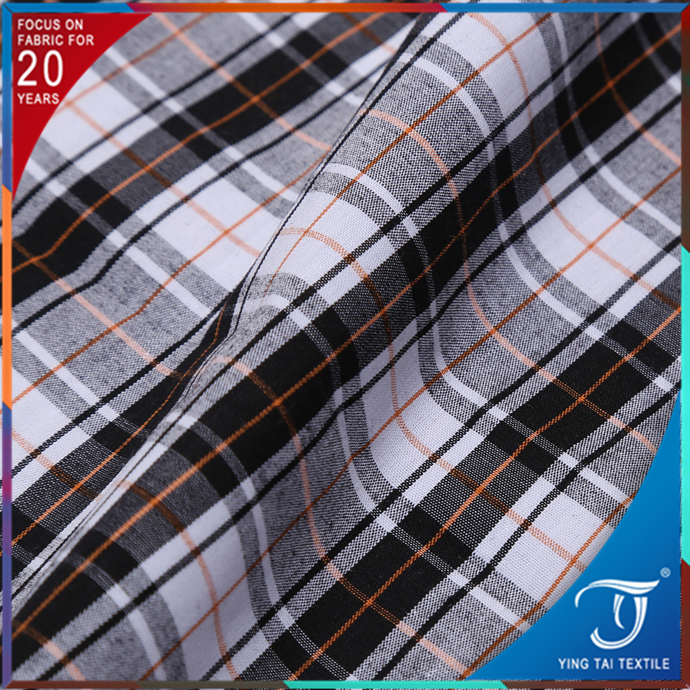 New style yarn dyed many material check design TC//TR/100 cotton shirt fabric