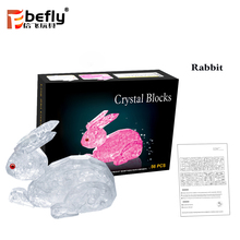 3D DIY rabbit crystal puzzle best gift for girlfriend