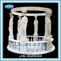 decorated stone carving statue garden luxury gazebo