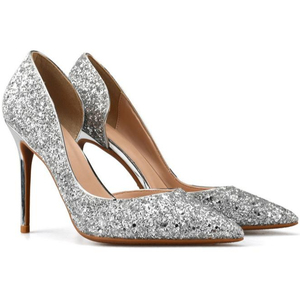 SH007 Sliver wedding shoes sequins sharp thin side high heels