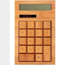 Natural Eco-Friendly Handmade Bamboo Wooden Case Keys 12 Digits Solar Powered Calculator General Office