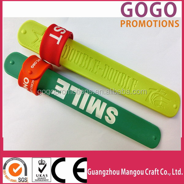 Manufacturer Wholesale Slap Bracelets with Eco-friendly Silicone Material,Logo debossed rubber slap bracelet with metal band