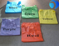 Colorful perforated clear t shirt plastic bag