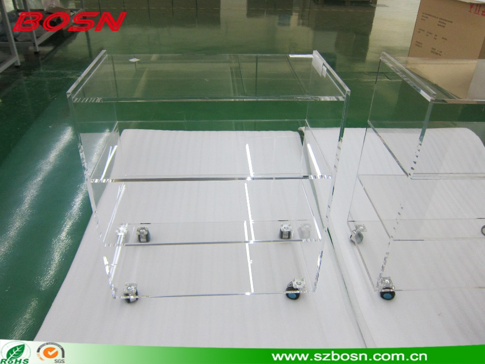 Customized Transparent Acrylic serving trolley Perspex trolley