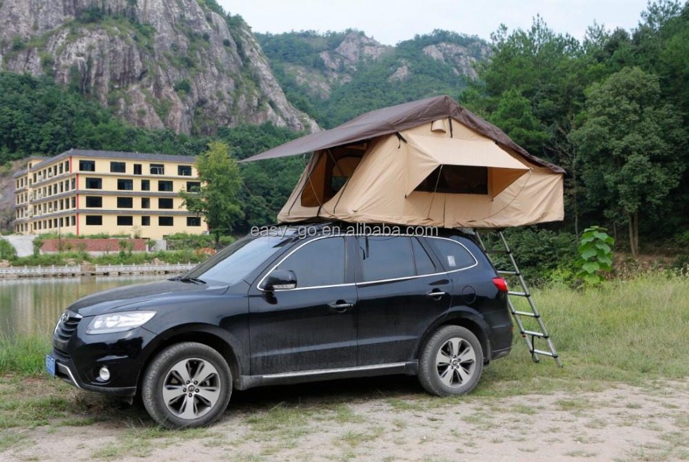 2016 hottest hard shell car roof top tent optional with Car side awning or mosquito net