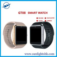 New Hot Sale !Bluetooth GT08 Smart Watch With SIM Card TF Card Camera 0.3MP dual sim card 4g wrist watch phone with tv