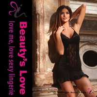 Beautys love sexy black babydoll chemise,women lace lingerie,hot satin baby dolls