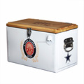 Retro metal cooler with wooden lid,wine cooler metal handle cooler,outdoor cooler box for picnic