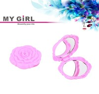 MY GIRL new arrival high quality rose shaped Promotional metal pocket makeup mirror cosmetic mirror compact