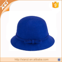 Blue bowknot hat polyester bowler hat black bucket hat