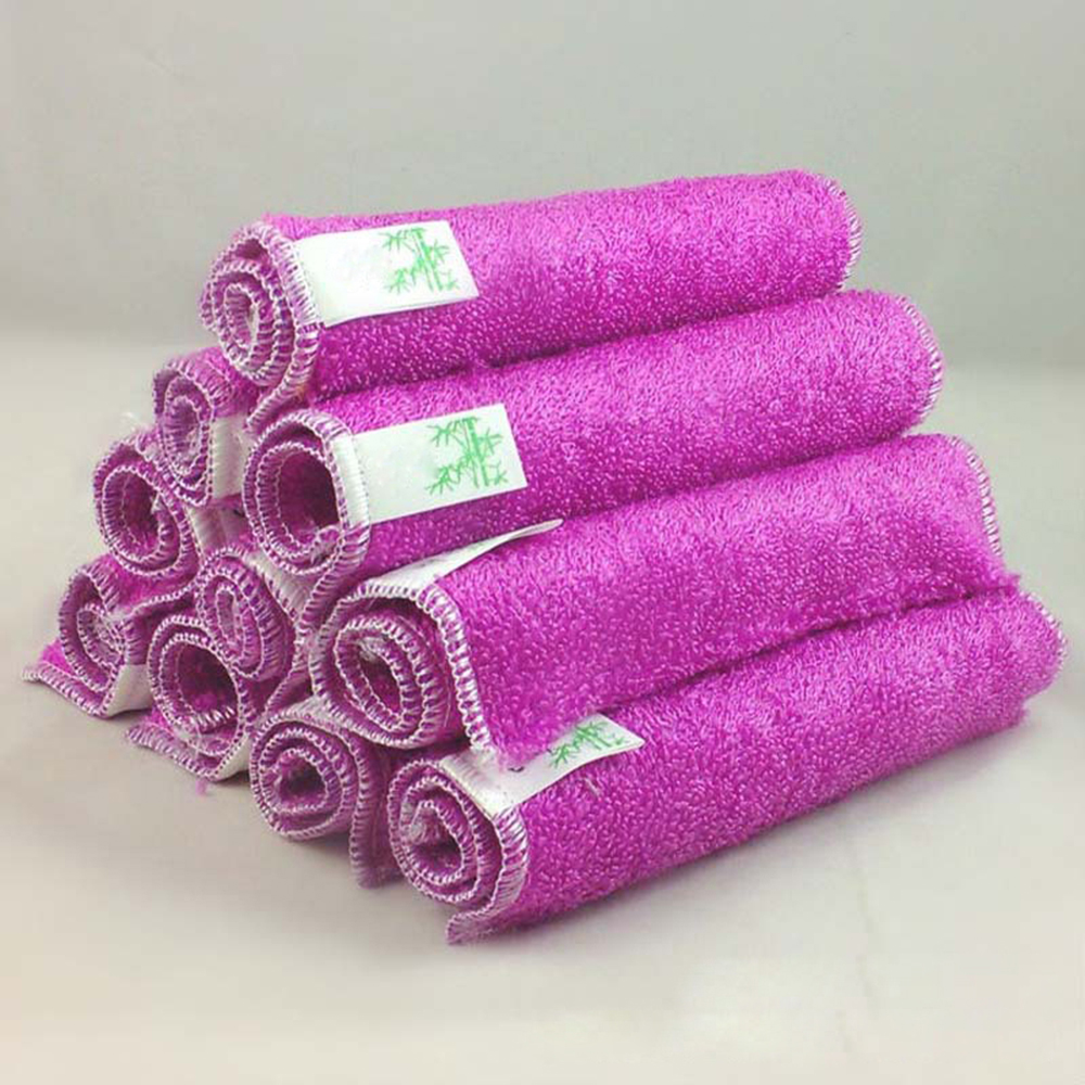Two Layers Bamboo Fiber Plain Dyed Cleaning Towel Cloth