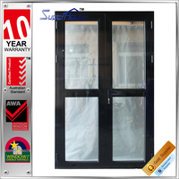 Australia standard as2047 Aluminum alloy frame double tempered glass entry casement interior door with retractable flyscreen