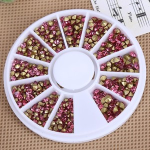 Fashion resin rose color pointback nail stone for DIY wheels packing NJ013