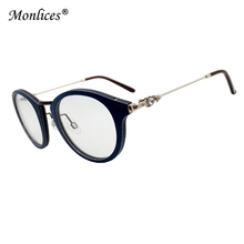 Round Wooden Frame Metal Temple With Diamond Women Design Eyeglasses Frames