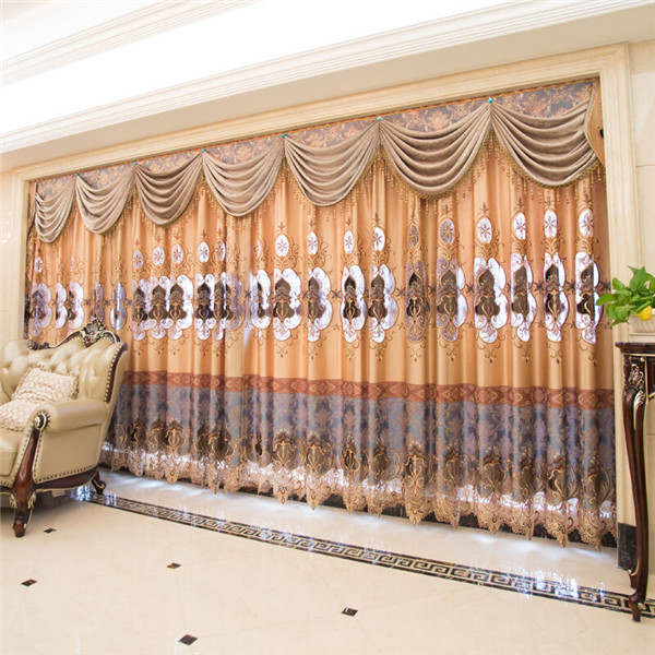European Style Embroidery curtains and drapes luxurious curtains with valance