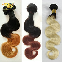 Own factory wholesale 100% unprocessed human hair ombre hair extensions