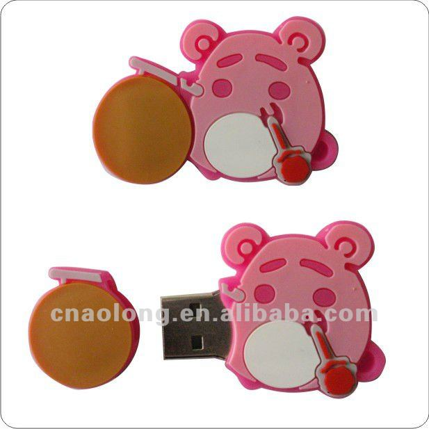cheap cartoon custom hand made soft pvc USB skin/rubber USB cover