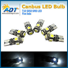 ADT Best w5w t10 canbus led,12VDC 5W Auto led bulb t10 smd 5050 auto led