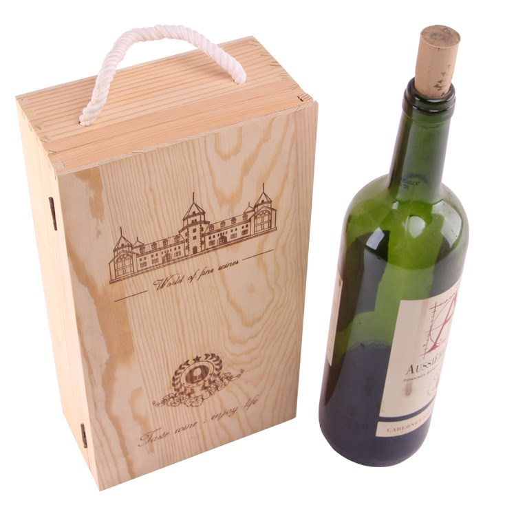 high quality custom wholesale natural pine wood wine box for double bottles