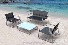 GW4024SET plastic fabric outdoor furniture stainless steel sofa set