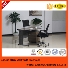 Stainless legs wooden office desk design for the staff